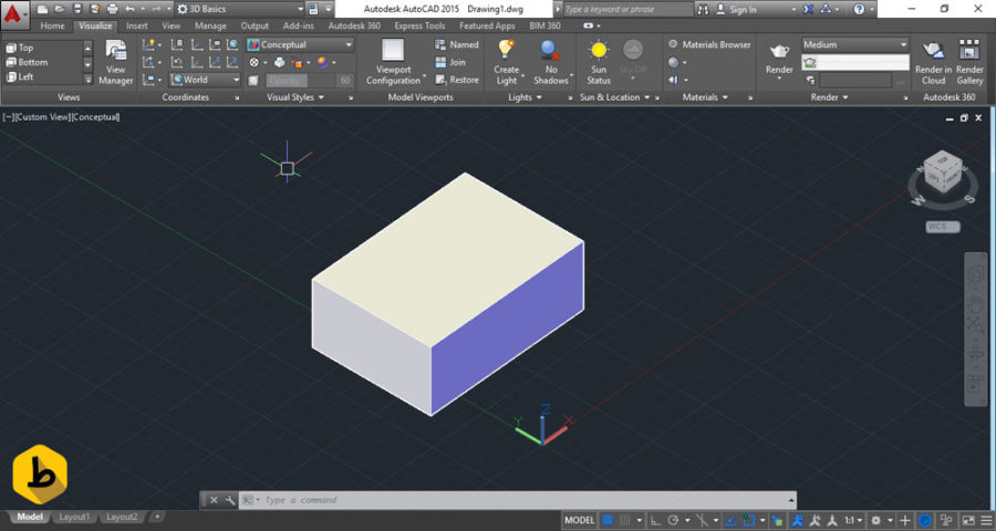 سه بعدی کردن مکعب مربع در اتوکد
