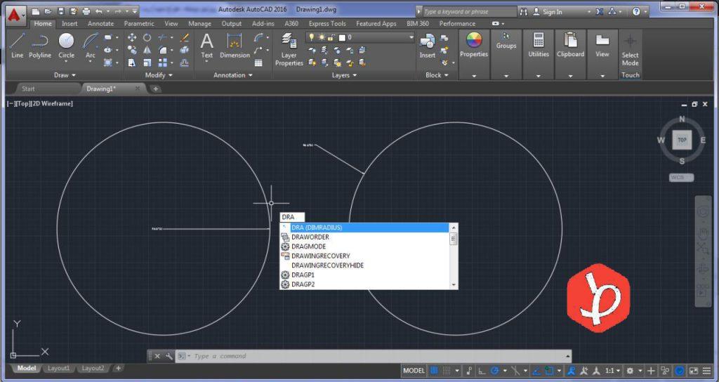اندازه گیری در اتوکد برای شعاع دایره و منحنی