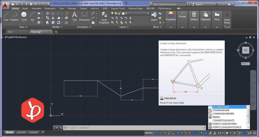 اندازه گیری در اتوکد به صورت خطوط افقی و عمودی