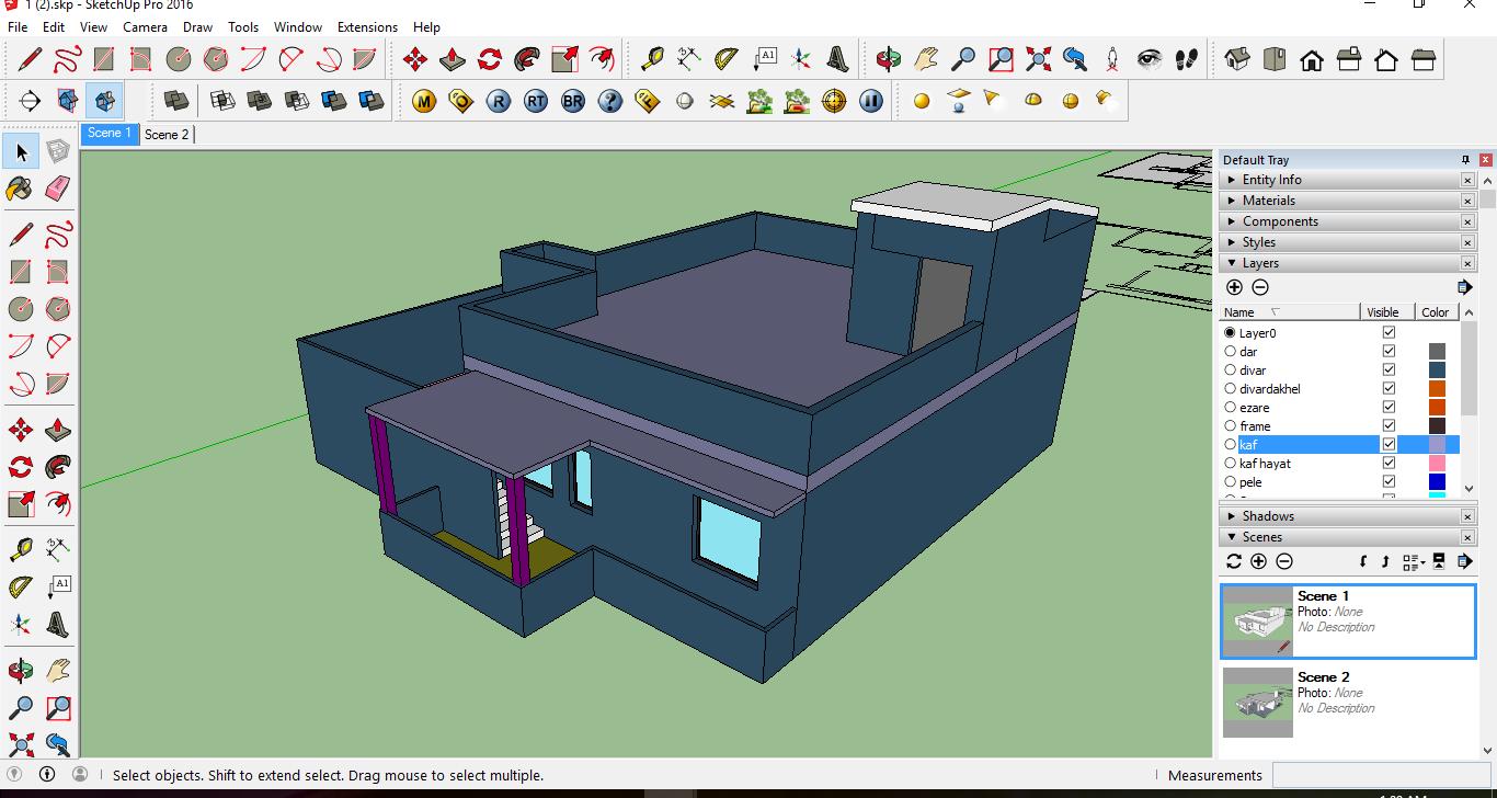نمایش تمام لایه ها بر اساس رنگ در مدل اسکچاپ