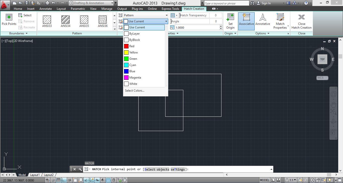 نحوه تغییر رنگ هاشور در نرم افزار اتوکد