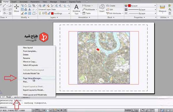 استفاده از Page Setup برای تغییر مقیاس نقشه در اتوکد