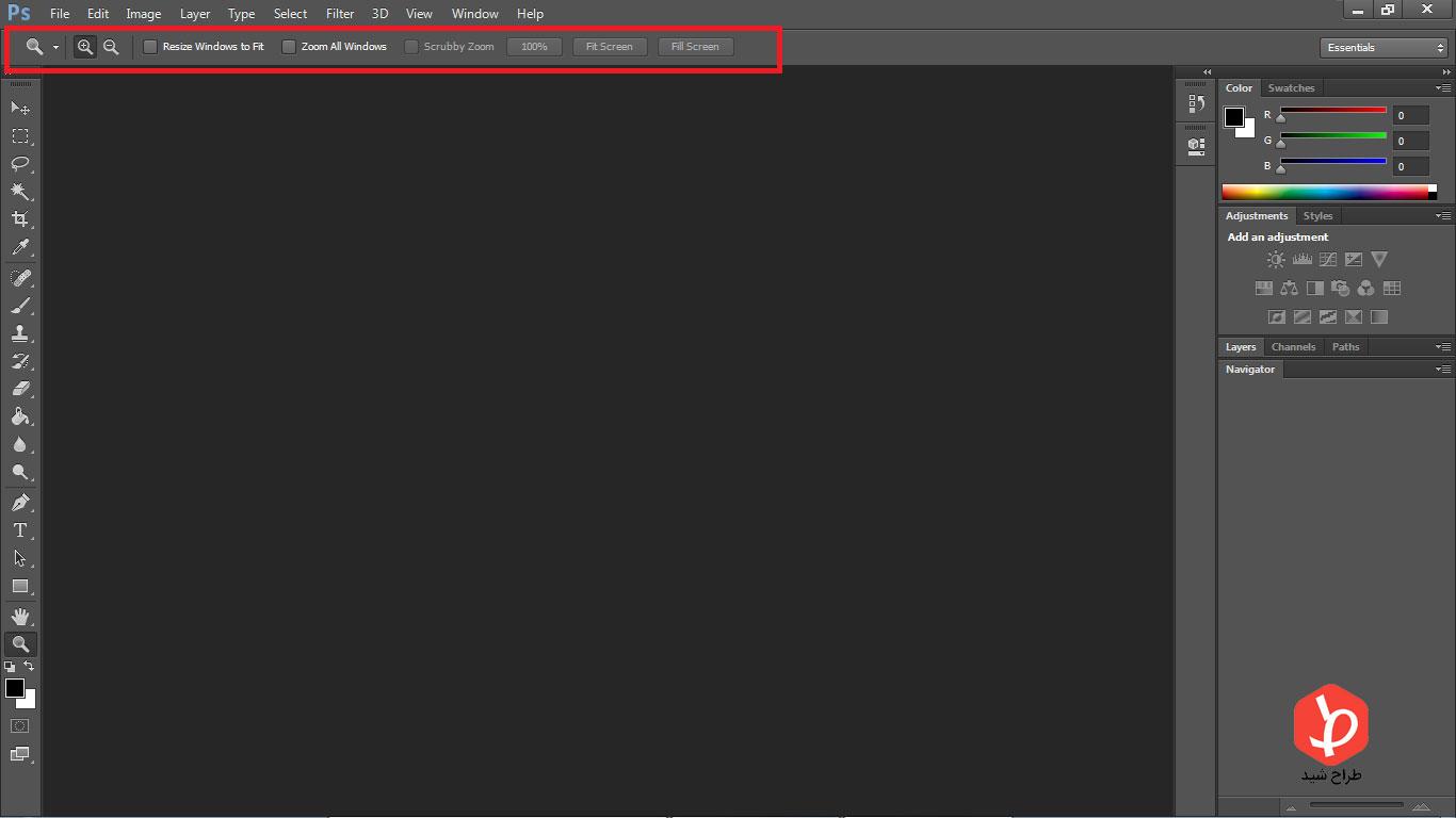 option bar در فتوشاپ