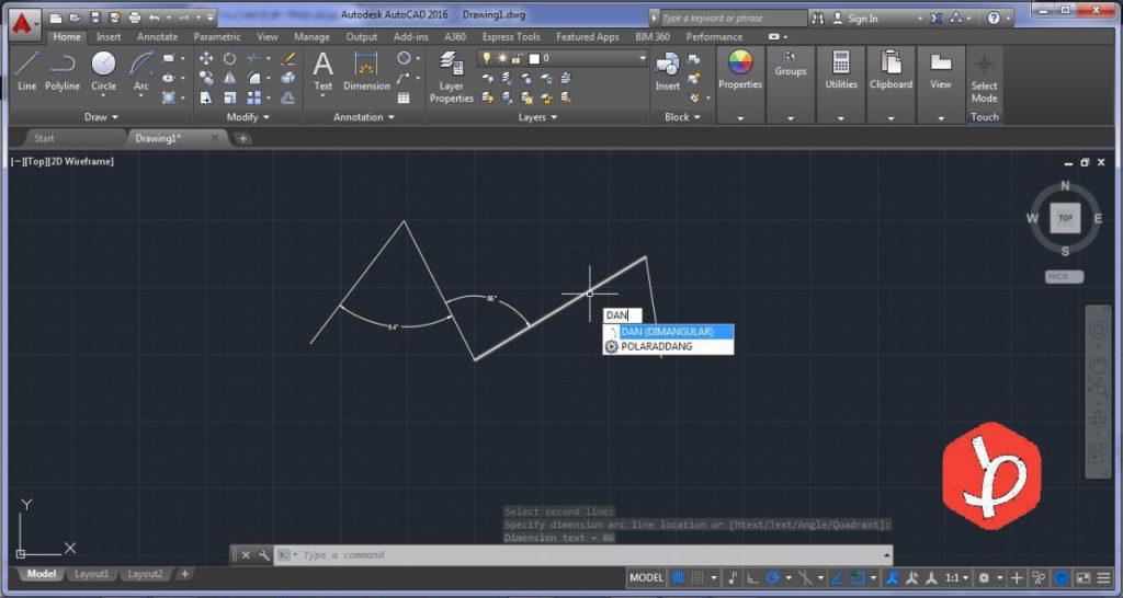 اندازه گیری در اتوکد angular