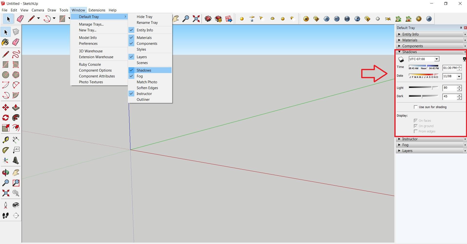 ایجاد سایه برای مدل در اسکچاپ 3