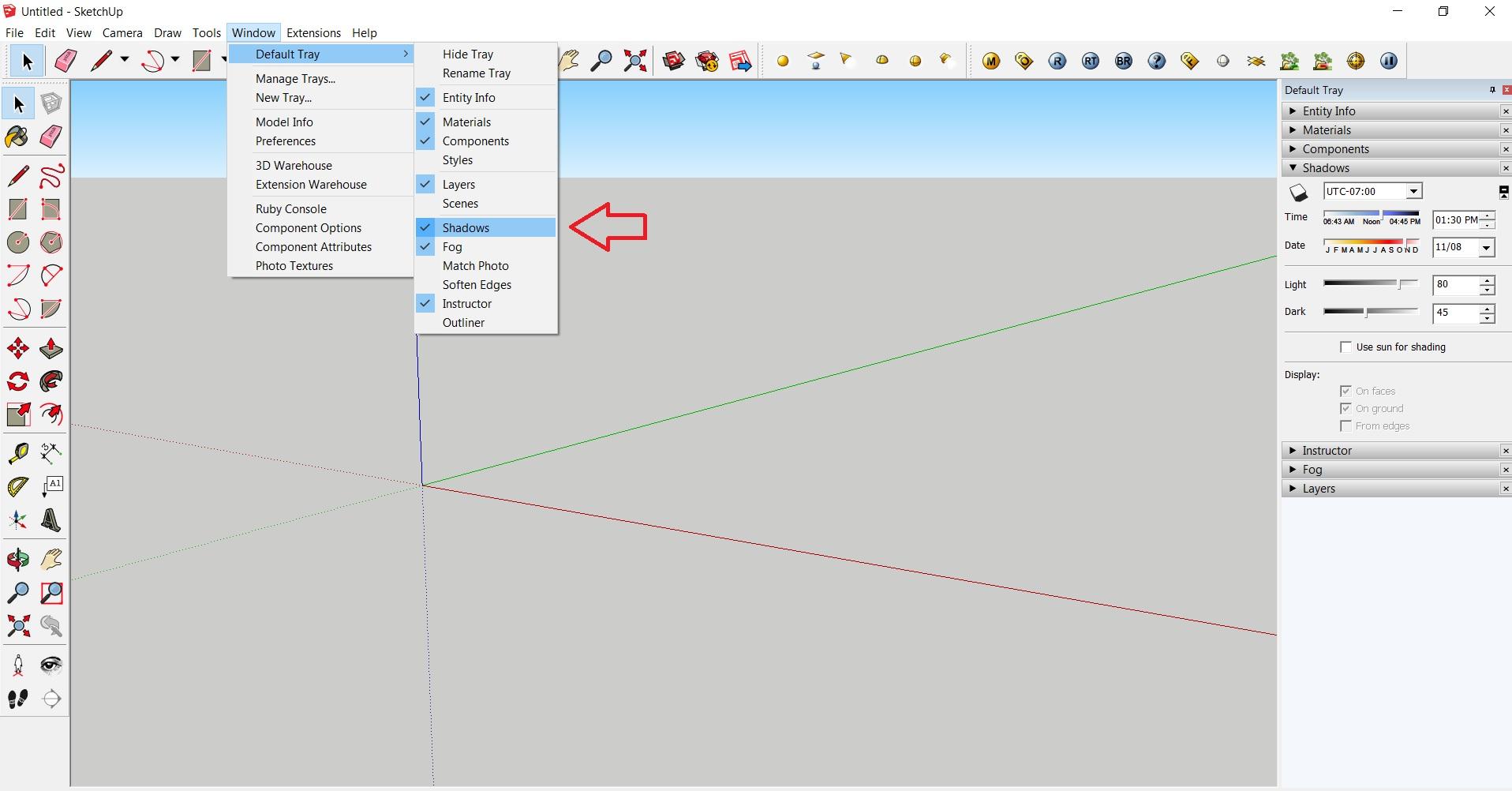 ایجاد سایه برای مدل در اسکچاپ 2
