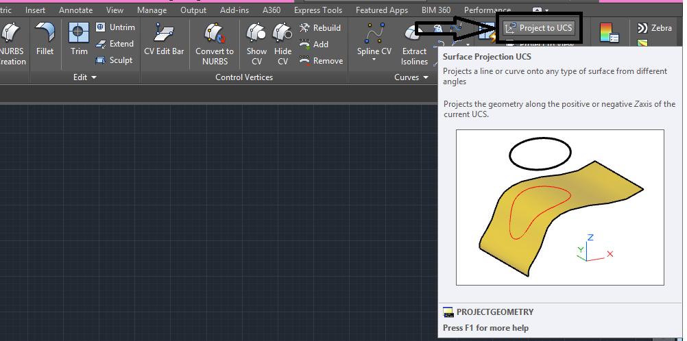 دستور project geometry در اتوکد سه بعدی 2