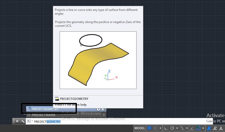 دستور project geometry در اتوکد سه بعدی 1