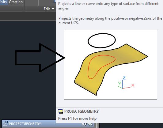 دستور project geometry در اتوکد سه بعدی 3