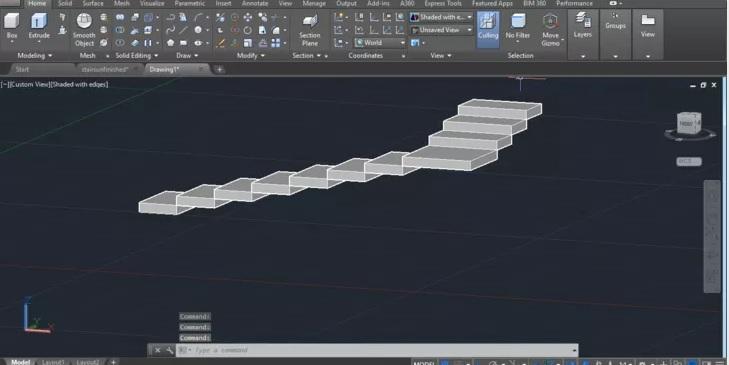 رسم انواع پله در اتوکد 6