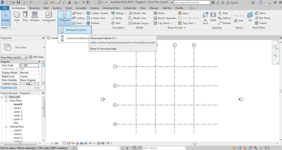 ایجاد ستون های سازه ای در نرم افزار رویت