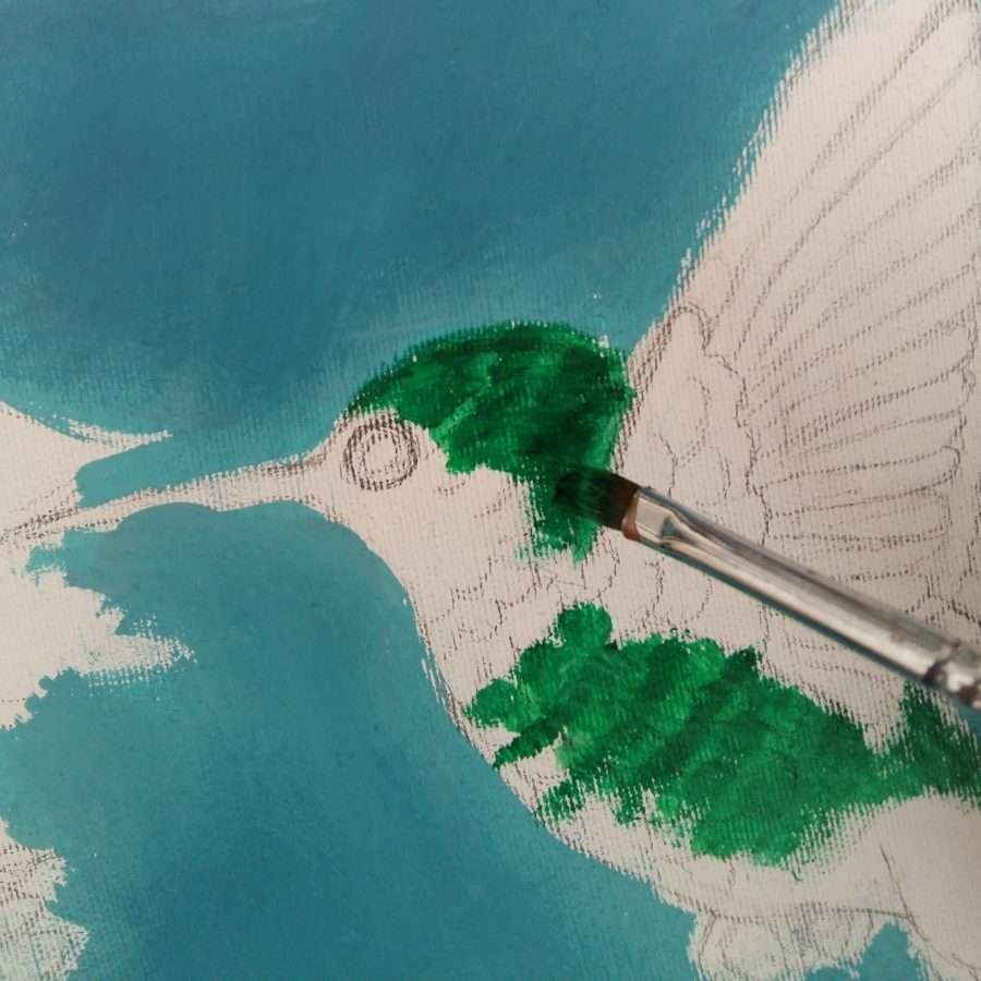 آموزش نقاشی با گواش روی بوم 3
