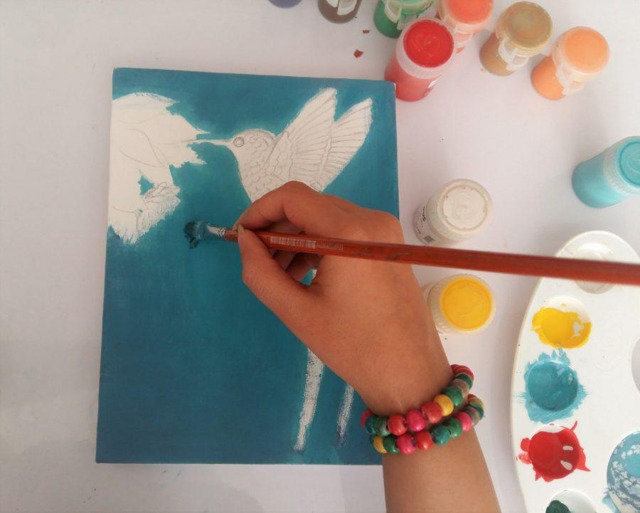 آموزش نقاشی روی بوم
