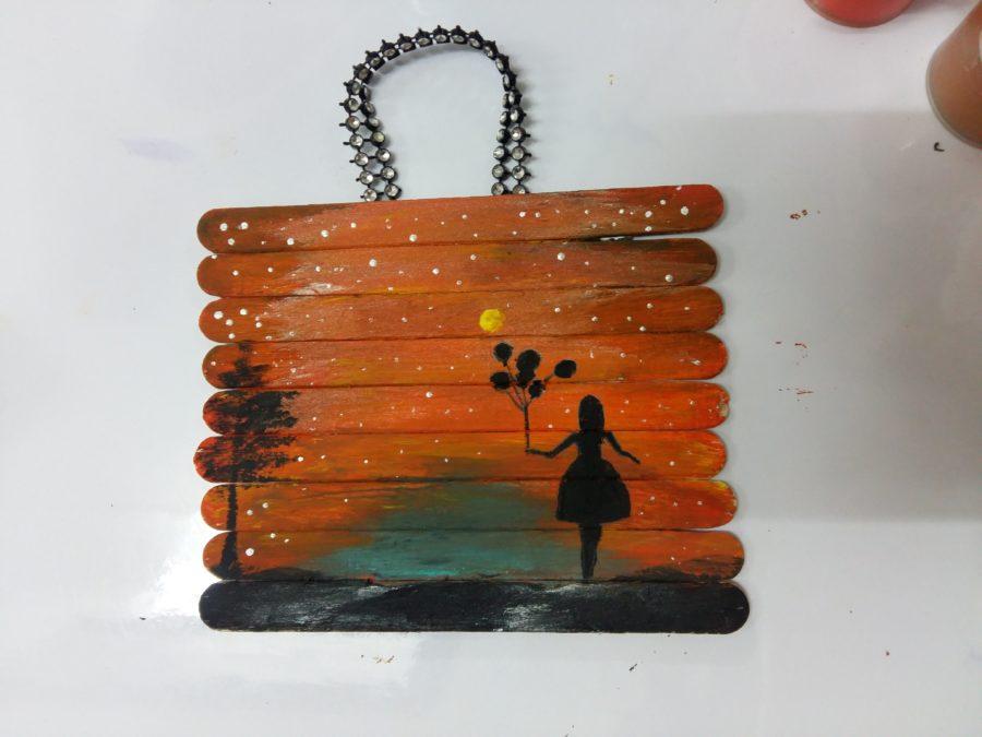 نقاشی با گواش روی چوب